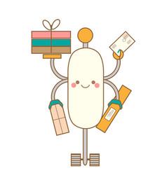 Cute kawaii robot character friendly smiling vector