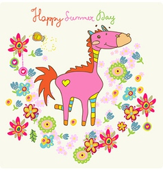 Cartoon floral card with horse vector