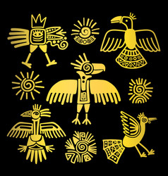 Primitive tribal golden birds paintings vector