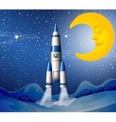 A rocket going to the sky with a sleeping moon vector