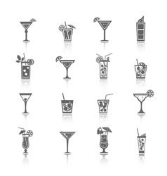 Alcohol Cocktails Icons black vector image