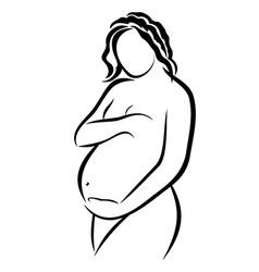 Pregnant woman sketch vector