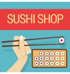 Hand with sushi roll vector