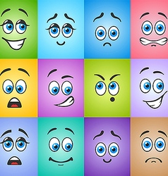 Different emotions with blue eyes on colored vector