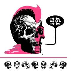 Ink drawn skull with mohawk T-shirt vector image