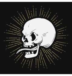 Retro hand drawn skull with sunburst vector