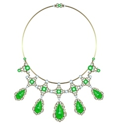 Gold necklace with emeralds vector