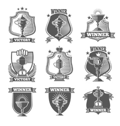 Trophy cup champions labels logos emblems vector