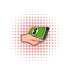 Hand with dollar bills icon comics style vector