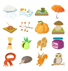 Autumn icons set cartoon style vector image