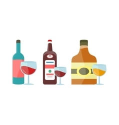 Bottles with alcohol in flat style design vector