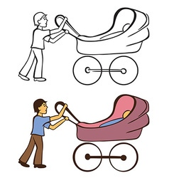 Boy and baby carriage vector