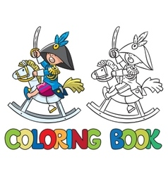 Brave boy on wooden horse coloring book vector