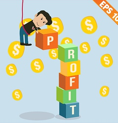 Cartoon businessman stacking profit box - - vector