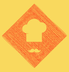 Chef hat and moustache sign red scribble vector