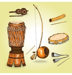 Collection of musical instruments of capoeira vector