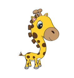 Cute baby giraffe cartoon vector