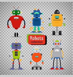 Cute cartoon robots on transparent background vector