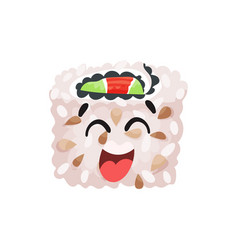 Cute happy laughing sushi character roll with vector