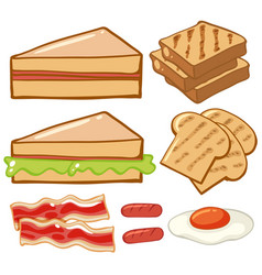 Different kinds of breakfast vector