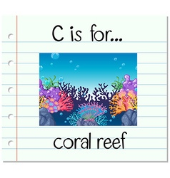 Flashcard letter c is for coral reef vector