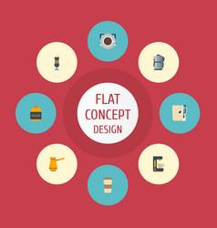 Flat icons sweetener espresso dispenser mocha vector