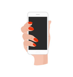 hand holding phone with vector image