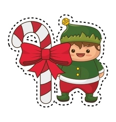 Happy merry christmas elf kawaii character vector