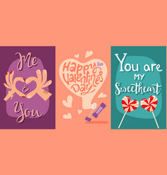 Happy valentines day greeting cards vector