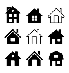 House Icons Set on White vector image