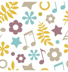 Light seamless pattern of stars notes and leaves vector image