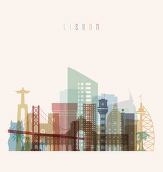 Lisbon skyline detailed silhouette vector