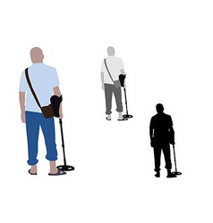 Man with slippers and bag using metal detector vector