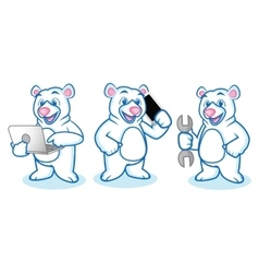 Polar bear mascot with laptop vector