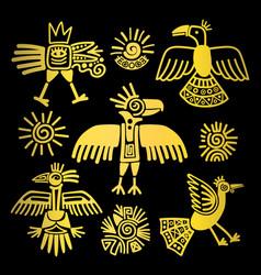 Primitive tribal golden birds paintings vector
