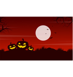 Pumpkin at night halloween landscape vector