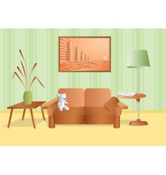 Room with a bouquet and sofa vector
