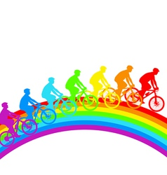 Silhouette of a cyclist a rainbow male vector