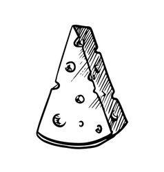 Slice of cheese with holes sketch image vector