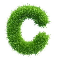 Small grass letter c on white background vector