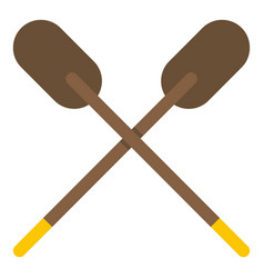 Two wooden crossed oars icon isolated vector