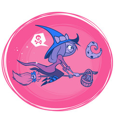 witch flying on her broom isolated vector image