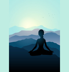 Woman meditating on the mountain vector