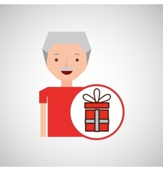 Man elderly with gift graphic vector