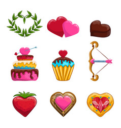 Set of Valentines Day items design vector image