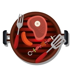 delicious barbecue food icon vector image