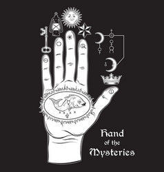 Hand of the mysteries the alchemical symbol vector