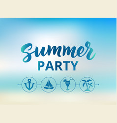 Summer party text beach party poster nautical vector
