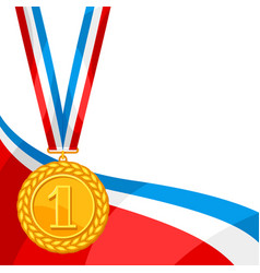 Realistic gold medal for first place background vector