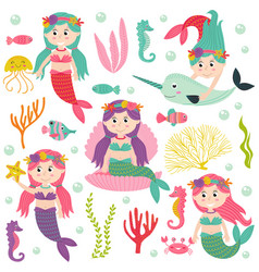 Set of isolated mermaid with marine animals vector